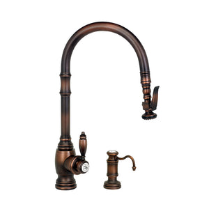Waterstone 5610-2 Traditional Standard Reach PLP Pulldown Angled Spout Faucet w/Lever Sprayer 2pc Suite