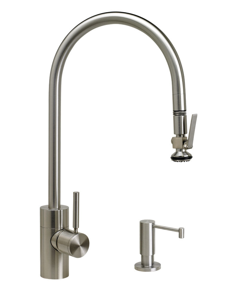 Waterstone 5700-2 Transitional Extended Reach PLP Pulldown Faucet - Lever Sprayer 2pc. Suite