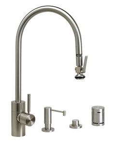Waterstone 5700-4 Transitional Extended Reach PLP Pulldown Faucet - Lever Sprayer 4pc. Suite