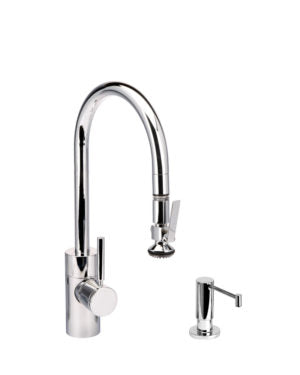 Waterstone 5800-2 Transitional Standard Reach PLP Pulldown Faucet - Level Sprayer 2pc. Suite