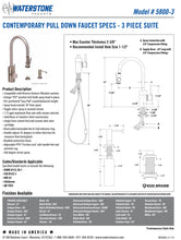 Load image into Gallery viewer, Waterstone 5800-3 Transitional PLP Pulldown Faucet Level Sprayer 3pc SuiteChoose Finish Above