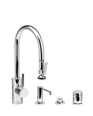 Waterstone 5800-4 Transitional Standard Reach PLP Pulldown Faucet - Level Sprayer 4pc. Suite