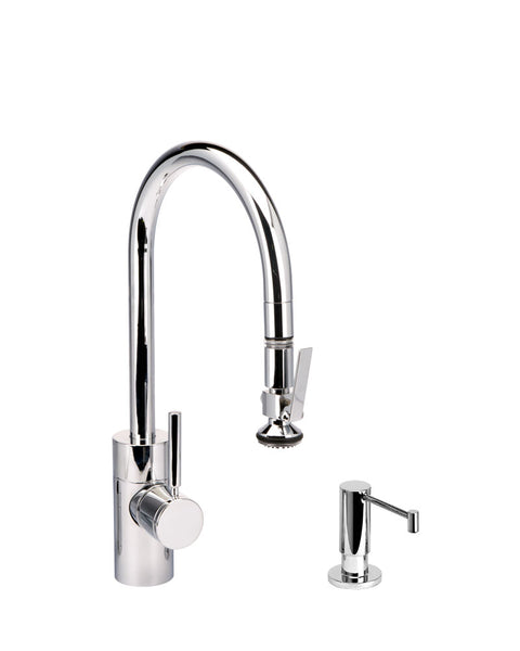 Waterstone 5810-2 Transitional Standard Reach PLP Pulldown Angled Spout Faucet w/Lever Sprayer 2pc Suite