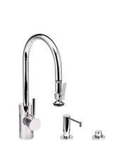 Load image into Gallery viewer, Waterstone 5810-3 Transitional Standard Reach PLP Pulldown Angled Spout Faucet w/Lever Sprayer 3pc Suite