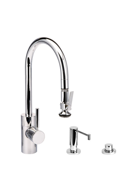 Waterstone 5810-3 Transitional Standard Reach PLP Pulldown Angled Spout Faucet w/Lever Sprayer 3pc Suite