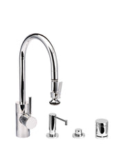 Load image into Gallery viewer, Waterstone 5810-4 Transitional Standard Reach PLP Pulldown Angled Spout Faucet w/Lever Sprayer 4pc Suite