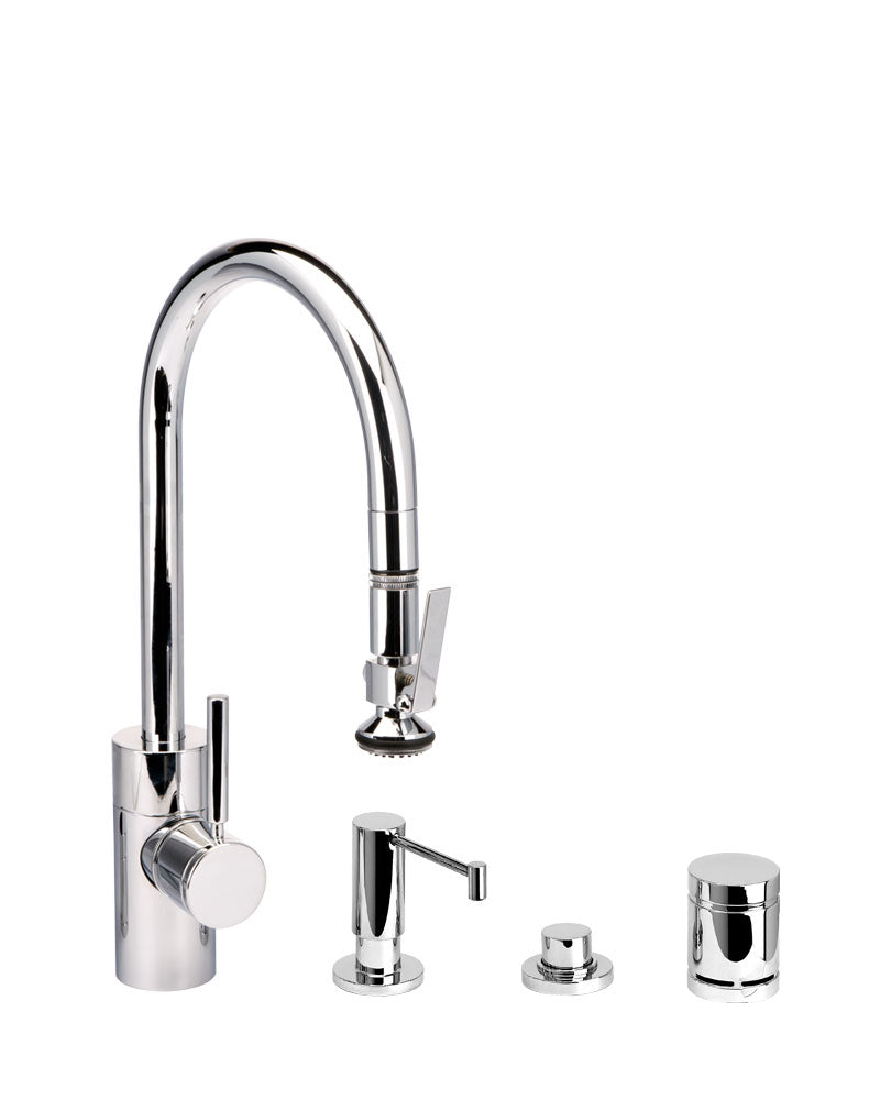 Waterstone 5810-4 Transitional Standard Reach PLP Pulldown Angled Spout Faucet w/Lever Sprayer 4pc Suite
