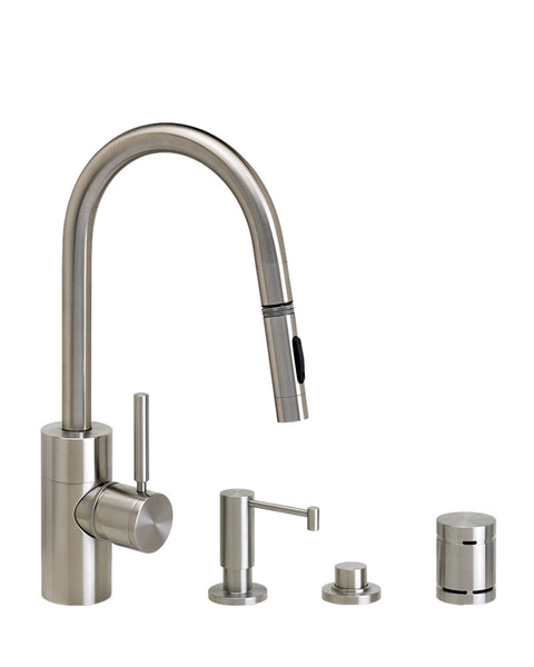 Waterstone 5910-4 Contemporary Prep Size PLP Pulldown Angled Spout Faucet w/Toggle Sprayer 4pc Suite