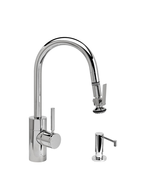 Waterstone 5940-2 Transitional Prep Size PLP Pulldown Angled Spout Faucet w/Lever Sprayer 2pc Suite