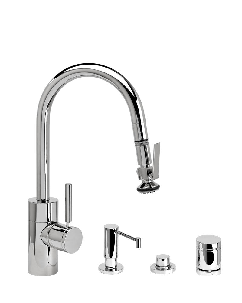Waterstone 5940-4 Transitional Prep Size PLP Pulldown Angled Spout Faucet w/Lever Sprayer 4pc Suite
