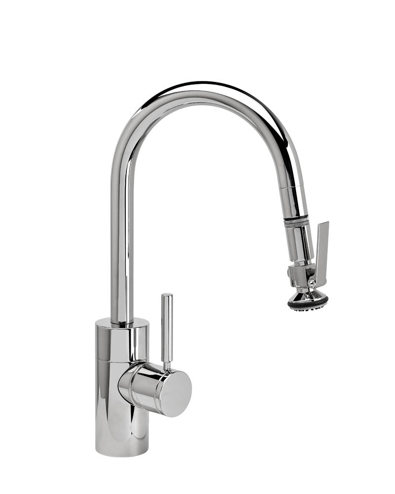 Waterstone 5940 Transitional Prep Size PLP Pulldown Angled Spout Faucet w/Lever Sprayer