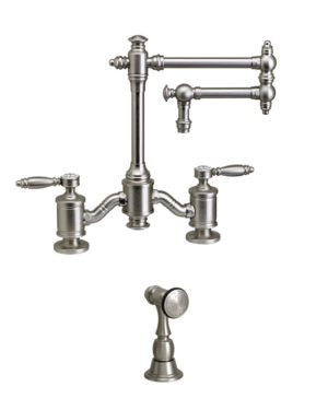 "Waterstone 6100-12-1 Towson Bridge Faucet w/12"" Articulated Spout - Lever Handles w/Side Spray"
