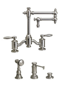 "Waterstone 6100-12-3 Towson Bridge Faucet w/12"" Articulated Spout - Lever Handles 3pc. Suite"