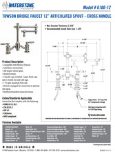 "Load image into Gallery viewer, Waterstone 6100-12-2 Towson Bridge Faucet w/12"" Articulated Spout - Lever Handles 2pc. Suite"