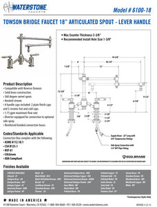 "Waterstone 6100-18 Towson Bridge Faucet w/18"" Articulated Spout - Lever Handles"