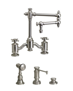 "Waterstone 6150-12-3 Towson Bridge Faucet w/12"" Articulated Spout - Cross Handles 3pc. Suite"