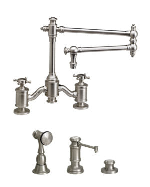"Waterstone 6150-18-3 Towson Bridge Faucet w/18"" Articulated Spout - Cross Handles 3pc. Suite"