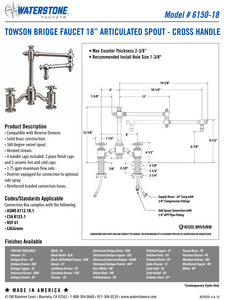 "Waterstone 6150-18 Towson Bridge Faucet w/18"" Articulated Spout - Cross Handles"