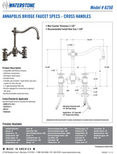 Load image into Gallery viewer, Waterstone 6250-2 Annapolis Bridge Faucet - Cross Handles 2pc. Suite