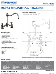 Waterstone 6250-2 Annapolis Bridge Faucet - Cross Handles 2pc. Suite