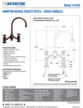 Load image into Gallery viewer, Waterstone 6350-2 Hampton Bridge Faucet - Cross Handles 2pc. Suite