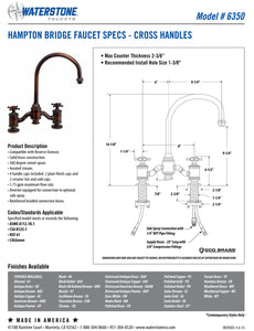 Waterstone 6350-2 Hampton Bridge Faucet - Cross Handles 2pc. Suite