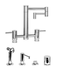 "Waterstone 7600-12-4 Hunley Bridge Faucet - 12"" Articulated Spout 4pc. Suite"
