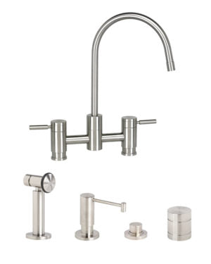 Waterstone 7800-4 Parche Bridge Faucet 4pc. Suite