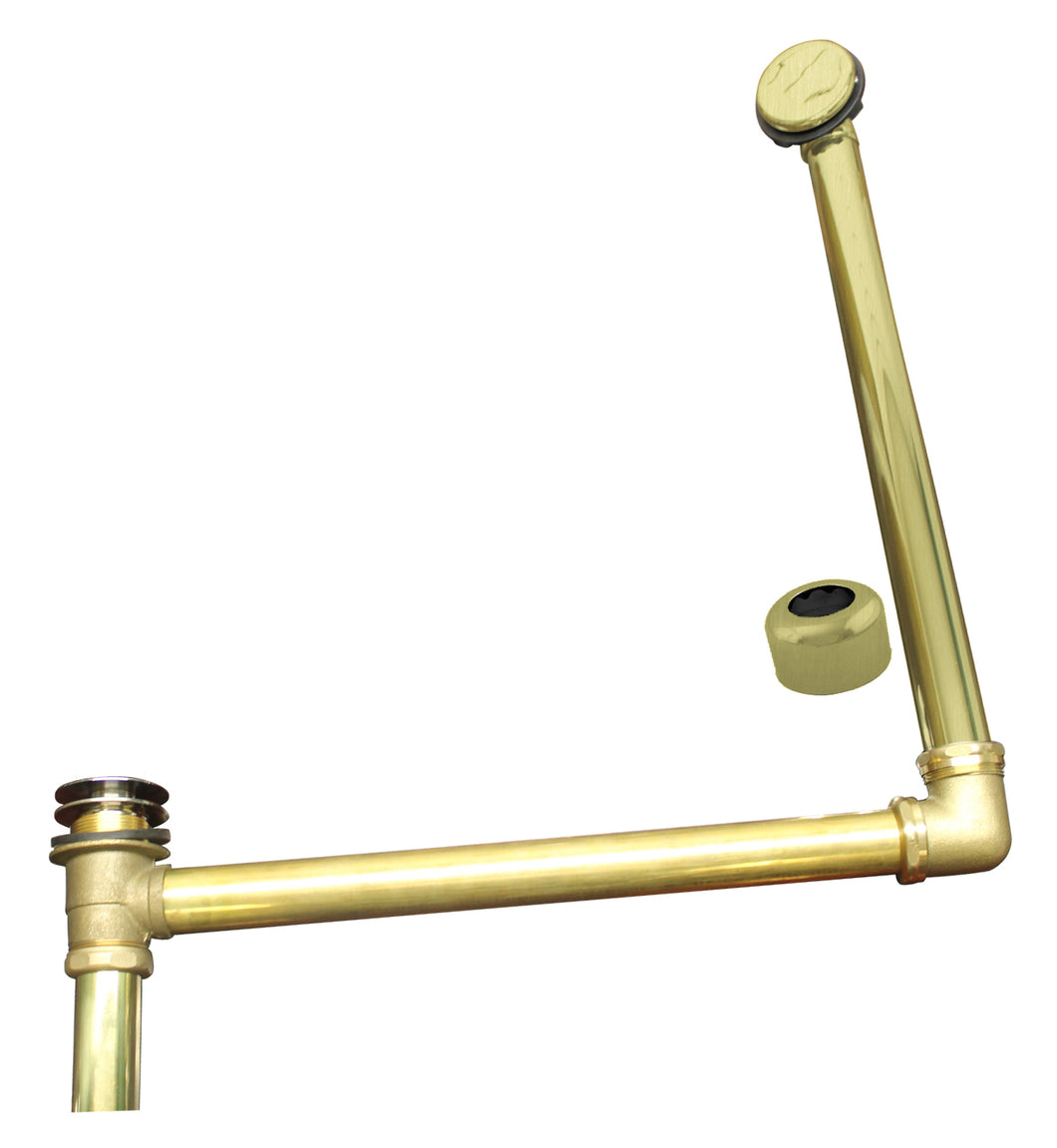 Westbrass 7932420HRDC Westbrass ABS/Brass Semi-Exposed Waste & Overflow with Tip-Toe Drain