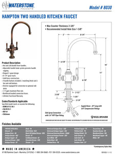Waterstone 8030-1 Hampton Two Handle Kitchen Faucet w/Side Spray