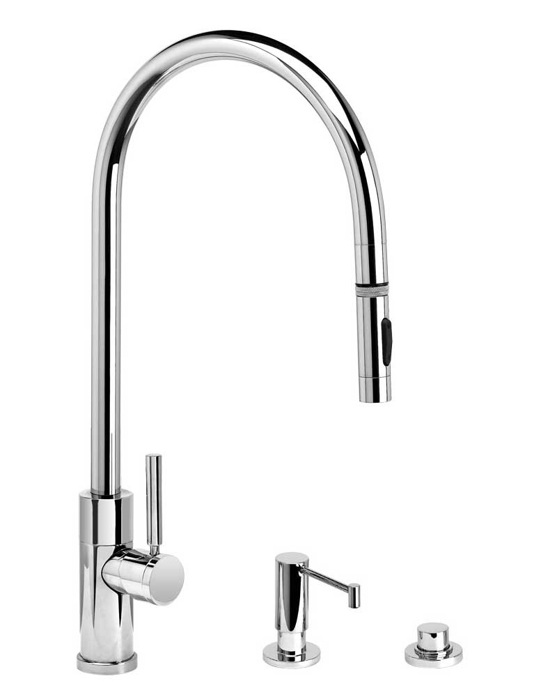 Waterstone 9350-3 Railine Contemporary Extended Reach PLP Pulldown Faucet Toggle Sprayer 3pc Suite
