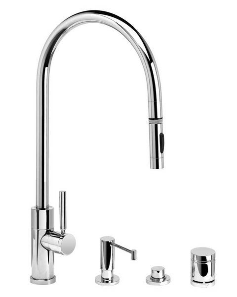 Waterstone 9350-4 Railine Contemporary Extended Reach PLP Pulldown Faucet Toggle Sprayer 4pc Suite