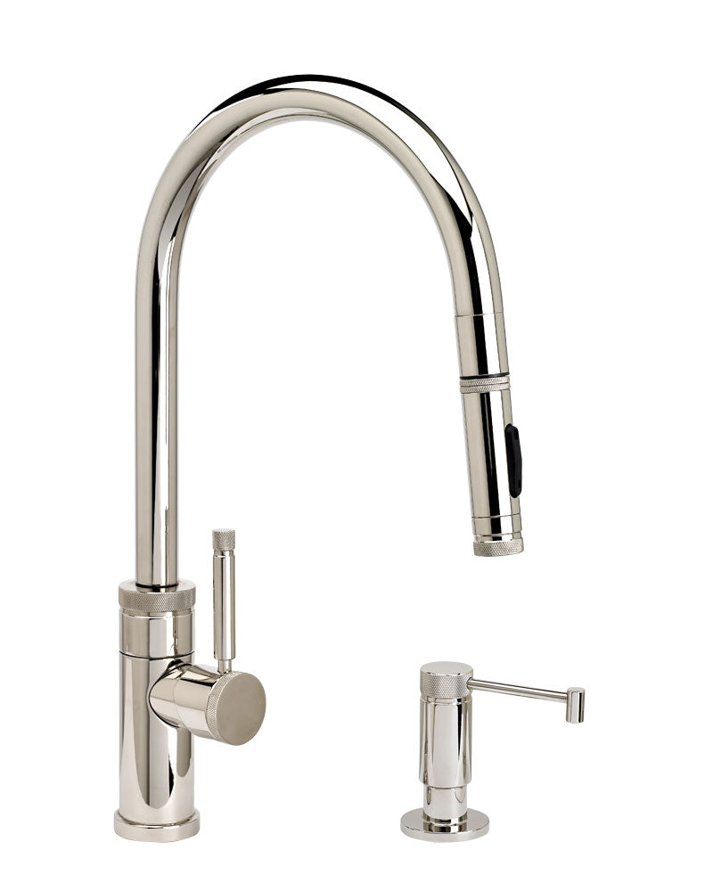 Waterstone 9410-2 Industrial Standard Reach PLP Pulldown Angled Spout Faucet w/Toggle Sprayer 2pc Suite