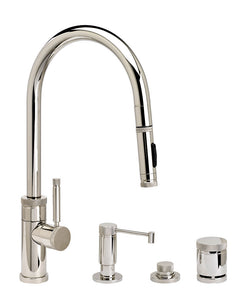 Waterstone 9410-4 Industrial Standard Reach PLP Pulldown Angled Spout Faucet w/Toggle Sprayer 4pc Suite
