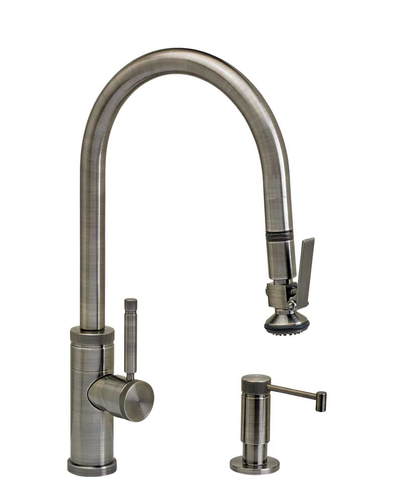 Waterstone 9810-2 Industrial Standard Reach PLP Pulldown Angled Spout Faucet w/Lever Sprayer 2pc Suite
