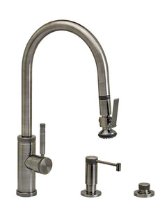 Waterstone 9810-3 Industrial Standard Reach PLP Pulldown Angled Spout Faucet w/Lever Sprayer 3pc Suite