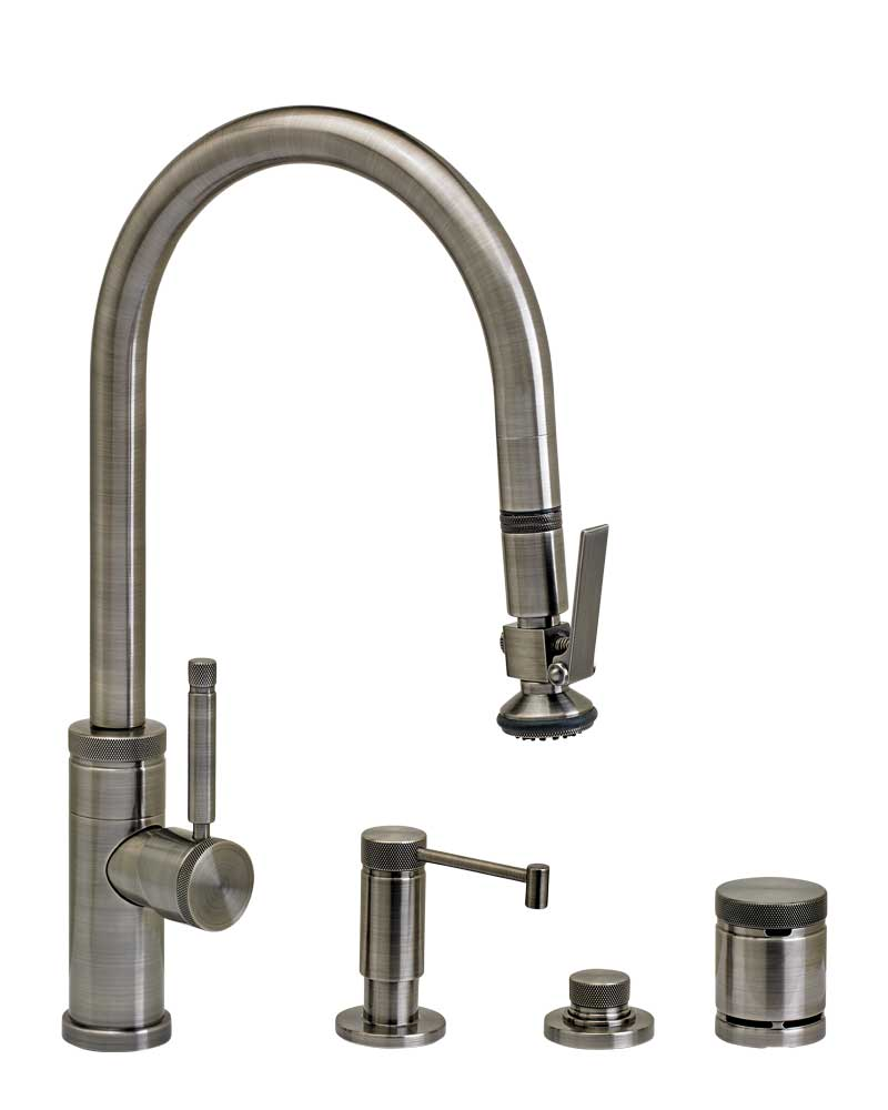 Waterstone 9810-4 Industrial Standard Reach PLP Pulldown Angled Spout Faucet w/Lever Sprayer 4pc Suite