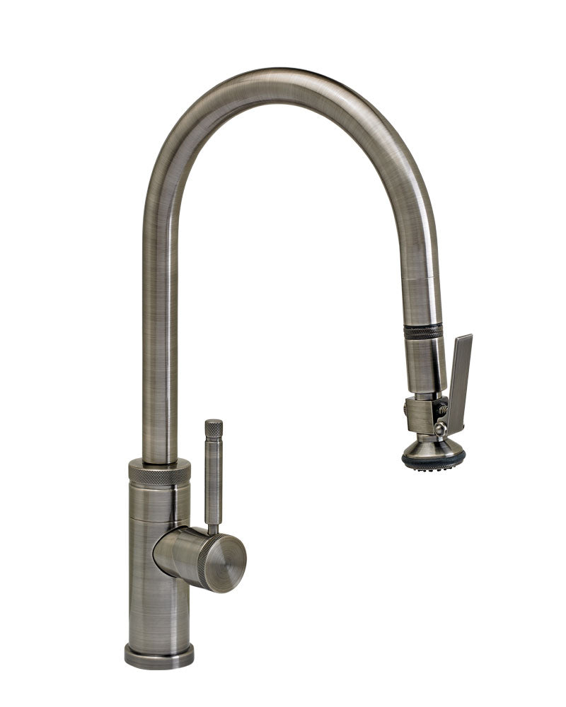 Waterstone 9810 Industrial Standard Reach PLP Pulldown Angled Spout Faucet w/Lever Sprayer