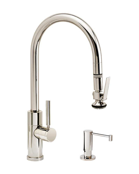 Waterstone 9850-2 Railine Contemporary PLP Pulldown Faucet Lever Sprayer 2pc Suite