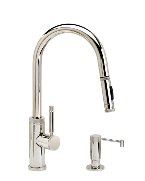 Waterstone 9910-2 Industrial Prep Size PLP Pulldown Angled Spout Faucet w/Toggle Sprayer 2pc Suite
