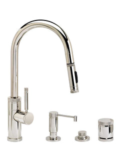 Waterstone 9910-4 Industrial Prep Size PLP Pulldown Angled Spout Faucet w/Toggle Sprayer 4pc Suite