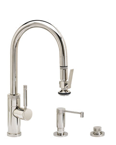Waterstone 9930-3 Industrial Prep Size PLP Pulldown Faucet 3pc Suite w/Lever Sprayer