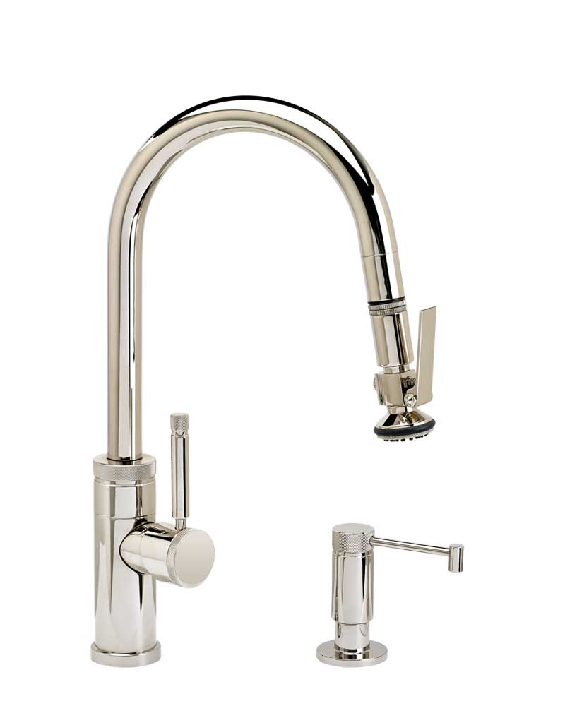 Waterstone 9940-2 Industrial Prep Size PLP Pulldown Angled Spout Faucet w/Toggle Sprayer 2pc Suite