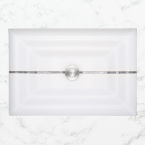 "Linkasink AG01A-01 Stripe Small Rectangular 18"" x 12"" x 4"" Undermount Sink White Glass with Accent"