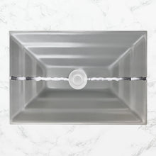 "Load image into Gallery viewer, Linkasink AG02C-03 River Large Rectangular 23"" x 15"" x 4"" Undermount Sink Gray Glass with Accent"
