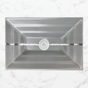 "Linkasink AG02C-03 River Large Rectangular 23"" x 15"" x 4"" Undermount Sink Gray Glass with Accent"