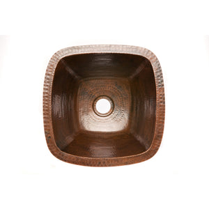 "Premier 15"" Hammered Copper Bar/Prep Sink W/  2"" Drain BS15DB2"