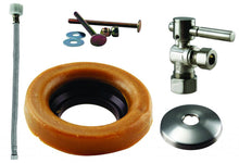 Load image into Gallery viewer, Westbrass D1612TBL Toilet Kit with 1/4-Turn nom comp Stop and Wax Ring - Lever Handle