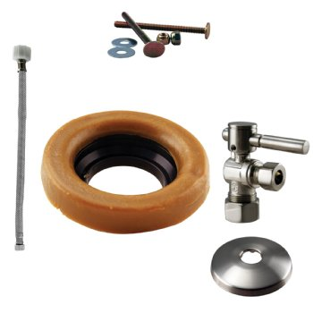 Westbrass D1612TBL Toilet Kit with 1/4-Turn nom comp Stop and Wax Ring - Lever Handle
