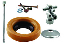 Load image into Gallery viewer, Westbrass D1612TBX Toilet Kit with 1/4-Turn nom comp Stop and Wax Ring - Cross Handle